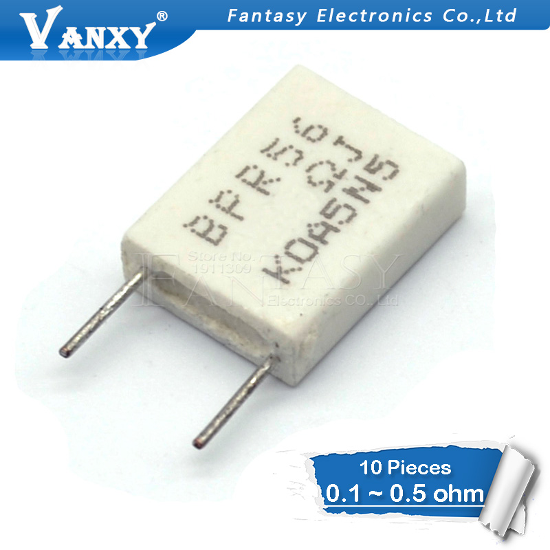 10pcs BPR56 5W 0.1 0.15 0.22 0.25 0.33 0.5 ohm Non-inductive Ceramic Cement Resistor 0.1R 0.15R 0.22R 0.25R 0.33R 0.5R tolerance 1% 5w 1g ohm high voltage resistor red