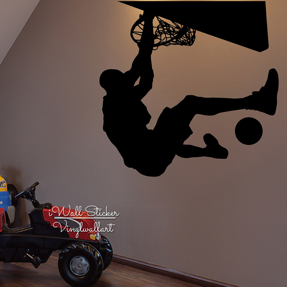Dunking Wall Sticker Basketball Wall Decal Removable Basketball Player Decoration Creative Modern Sports Wallpaper Cut Vinyl M66 in Wall Stickers from Home Garden