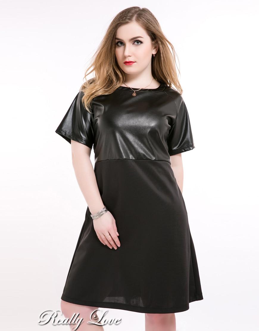 Nette Ann frauen Kurzarm Plus Größe Faux Leder Kleid schwarz ...