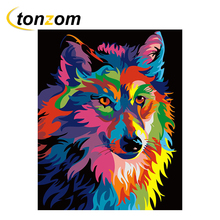 RIHE Colorful Fox Drawing By Numbers DIY Animal Painting Handwork Cuadros Decoracion Oil Art Coloring Home Decor 2018