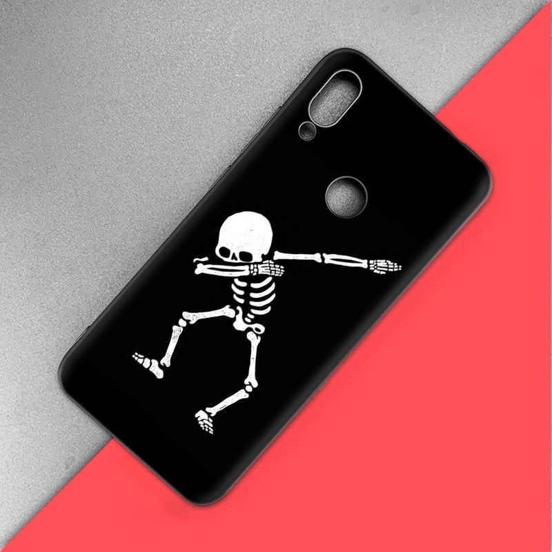 Coque Silicone pour Xiao mi rouge mi Note 7 6 5 Pro mi A1 A2 8 Lite 9 GO Poco F1 S2 4 4X Plus horreur crâne Marbel fantasmagorique