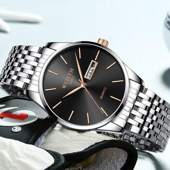 2019 Slim Men Quartz-Watch Top Brand Luxury Male Clock Fashion Leisure Wristwatches Week Date Stainless Steel Relogio Masculino дамски часовници розово злато
