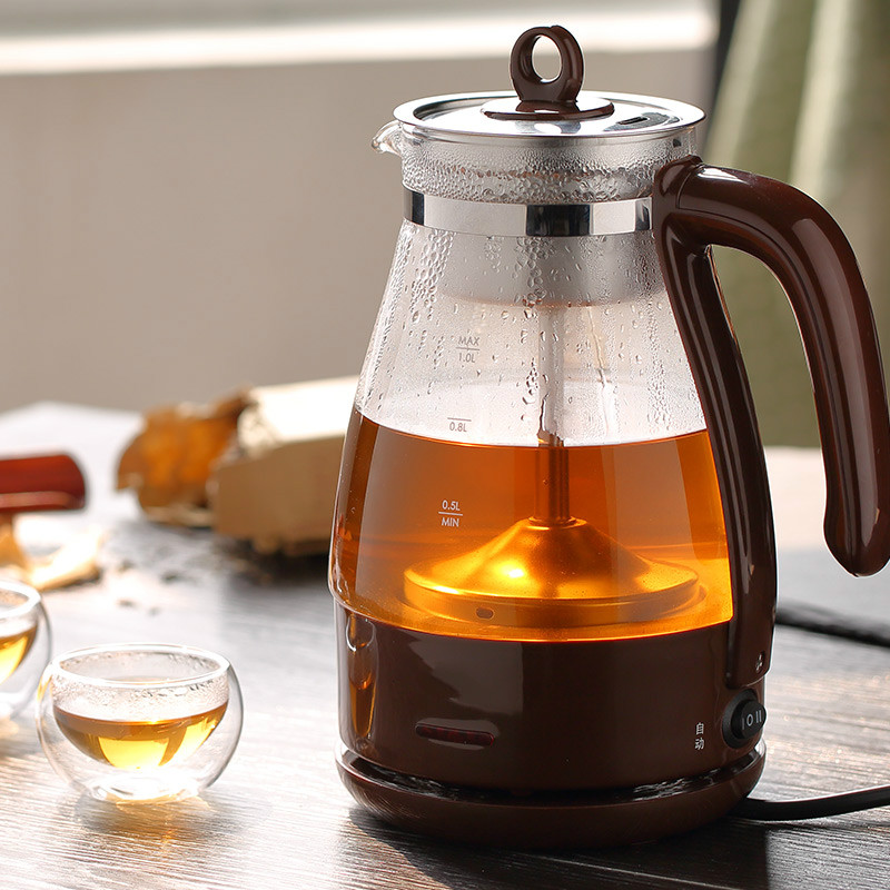 Electric kettle Brew tea pot black pu 'er glass electric steam teapot automatic heat preservation kett Safety Auto-Off Function chinese yunnan puer 60g old ripe pu erh tea loose shu pu er tea green orangic food pu erh tea blood pressure slimming tea