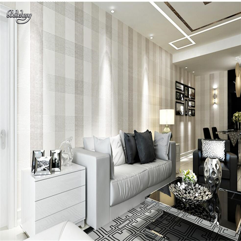 Beibehang Nonwovens Wallpapers Modern Simple Wallpapers Living Room Bedroom  TV Background Walls Grids 3d Drawings In Wallpapers From Home Improvement  On ...