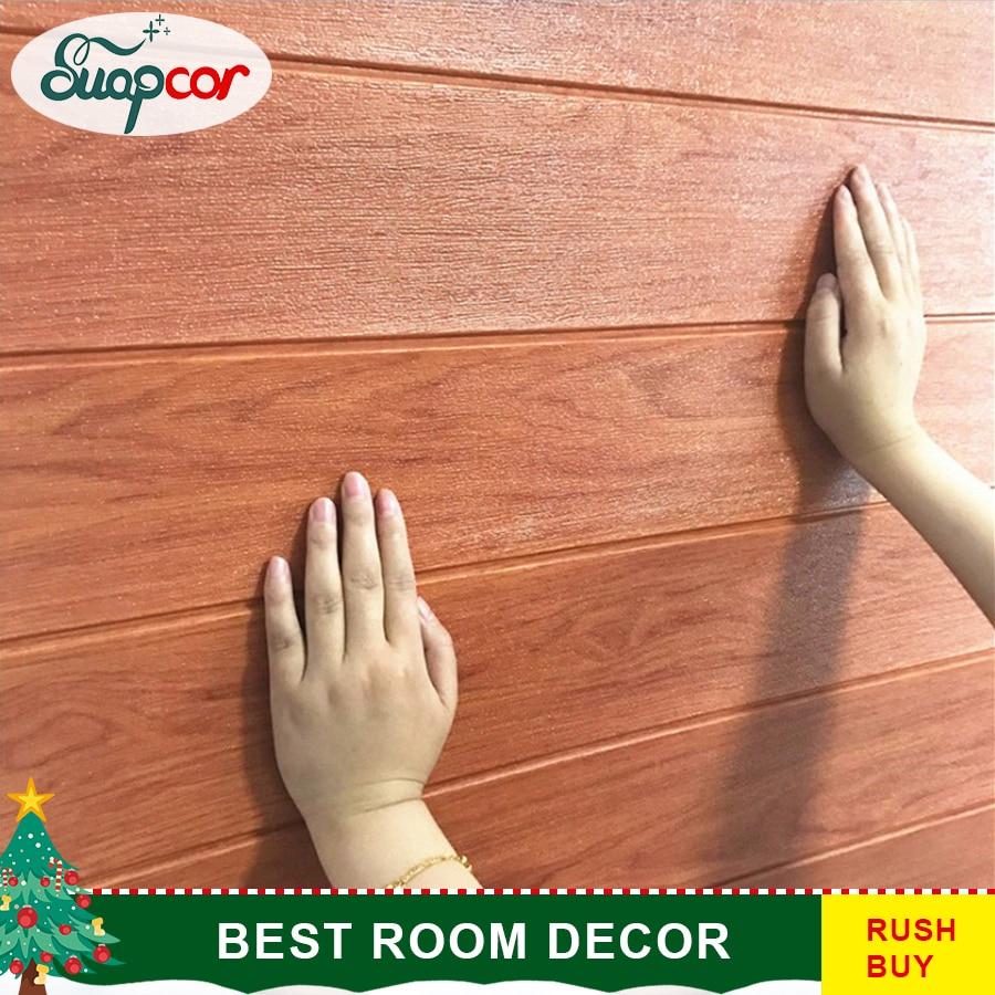 Self Adhesive 3D Wallpaper Background Wall Home Decor Stickers Wood Grain Living Room Kindergarten Wall Board Foam Wall Sticker