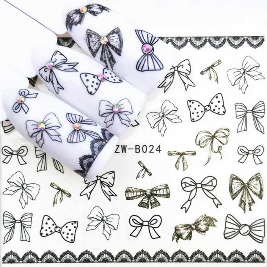 LOLEDE 1Sheet Variety of Bow Ties Nail Sticker Flower Decal Sliders for Nail Art Decoration Tattoo Manicure Wraps Tool 1010