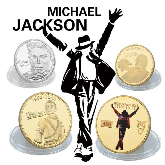 WR Super estrella Michael Jackson monedas conmemorativas 4 piezas oro y plata bañado famoso cantante Moneda de Metal para regalos de navidad