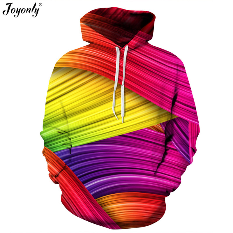 Joyonly 2018 New Fashion Thin 3D Sweatshirts Women/men Hooded Hoodies Print Colorful Striped Hoody Pullover Femme Casual Tops