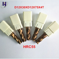 5 teile/paket D12x30xD12x75x4T HRC55 TiXCo Beschichtet Vhm 4 Flöte Schruppfräser-in Fräser aus Werkzeug bei