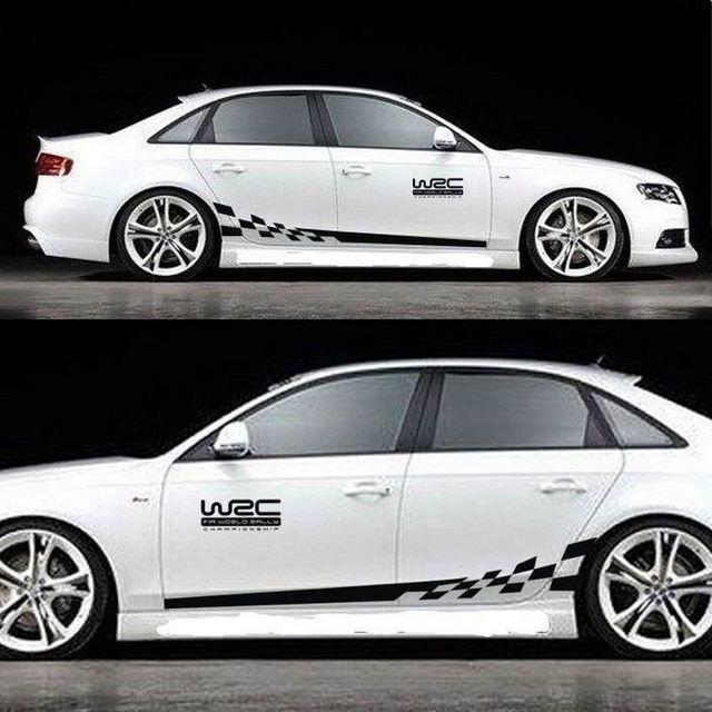 45CM * 15CM 1 Paar WRC Auto aufkleber BK KK Reflektierende Splitter Material 1 Paar Gird Muster Auto fahrzeug Körper Dekoration Aufkleber