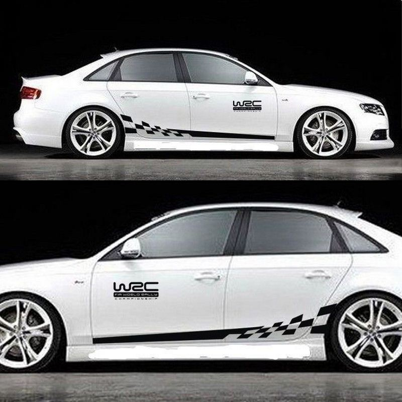 45CM * 15CM 1 Pair WRC Car sticker BK KK Reflective Sliver Material 1 Pair Gird Pattern Auto Vehicle Body Decoration Stickers-in Car Stickers from Automobiles & Motorcycles