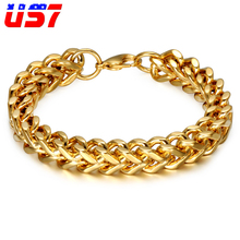 US7 Cool Gold Color Bracelets 23CM Long Stainless Steel Wristband Chain Bracelets for Men Jewelry Pulseira Masculina