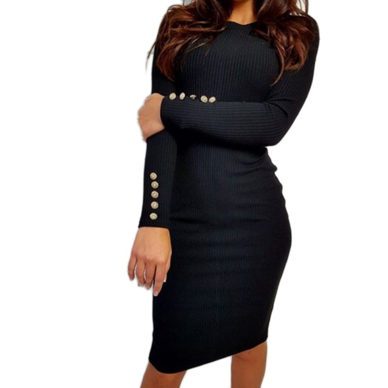 Sexy Women Bodycon Dress Autumn Knitted Vestidos Knitted Solid Long Sleeve Package Hip Dresses For Spring Autumn Winter