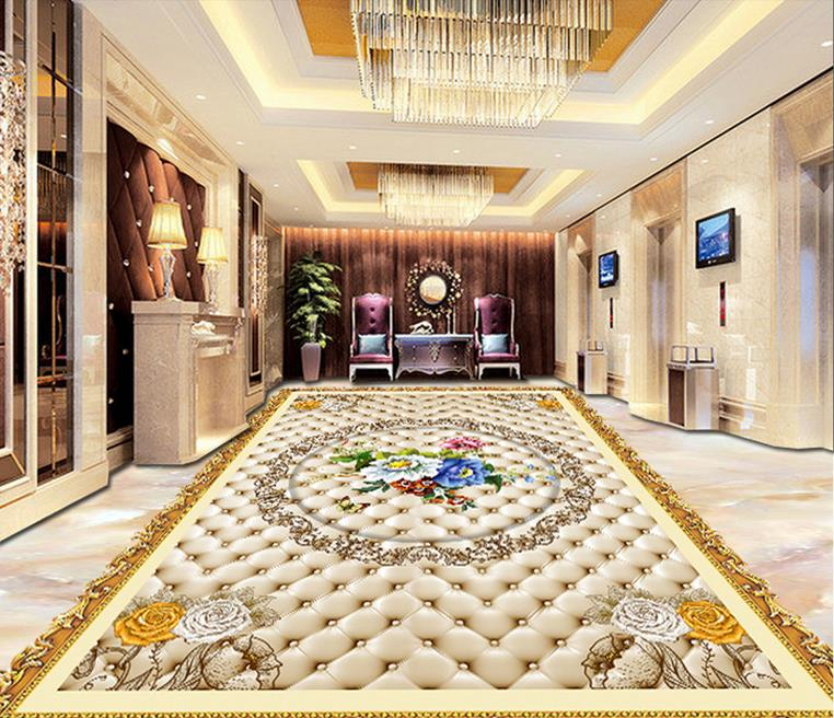 ФОТО custom 3d flooring painting wallpaper Flowers pattern 3d pvc flooring waterproof 3d wall murals wallpaper for living room