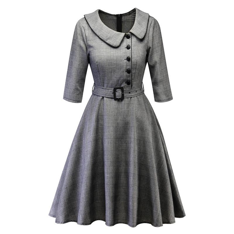 2019 Hot sale new women s winter plaid peter pan collar dresses
