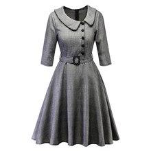 2019 горячая распродажа новые женские зимние плед Питер Пэн воротник платья