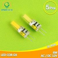 5 יחידות G4 AC/DC 12 V AC 220 V COB הוביל הנורה 6 W LED Lampada נברשת קריסטל אור LED זרקור הנורה מנורת קלח G4 ACDC