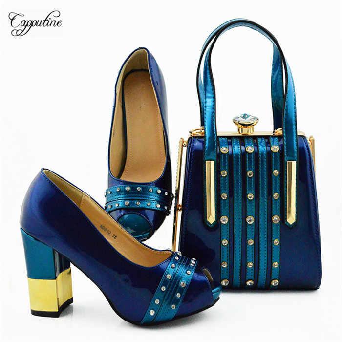 Fashion Hitam Sepatu Hak Tinggi dan Tas Pesta Yang Bagus Sandal dengan Tas Tangan untuk Wanita MD010, tinggi Hak 9.5 Cm