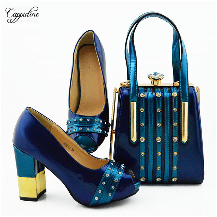 Fashionable royal blue high heel party shoes and handbag set nice matching for lady dress MD010 ,heel height 9.5cmFashionable royal blue high heel party shoes and handbag set nice matching for lady dress MD010 ,heel height 9.5cm