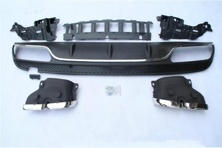 NEW 4 Outlet PP Rear Bumper Diffuser with Exhaust Tips For Benz W205 4Door C200 C220 C250 C300 C350 C63 AMG 2015 UP