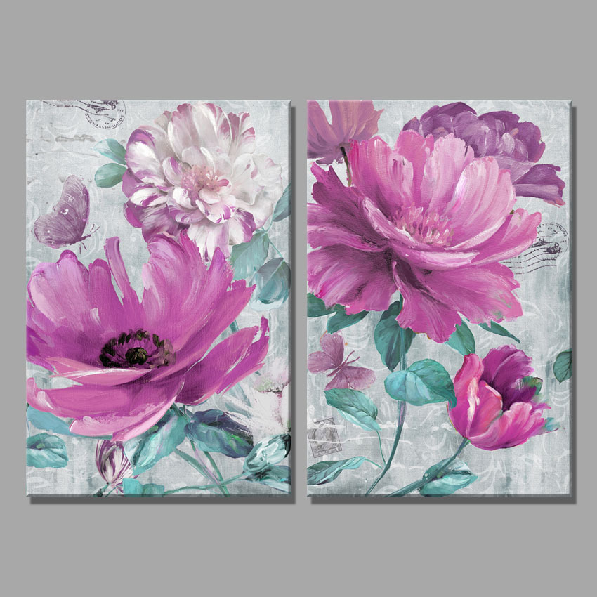 ⊹2 Piece Purple petals flower Green leaves Butterfly oil painting ...