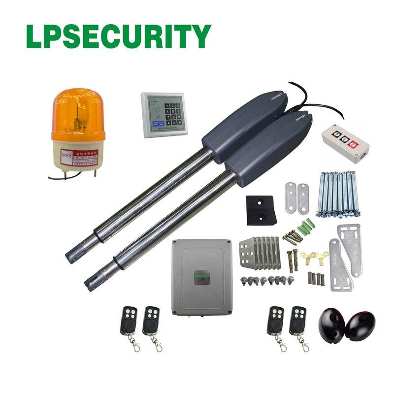 LPSECURITY 300kg per leaf 24VDC electric swing gate opener motor operator complete kit set with keypad lamp photocell