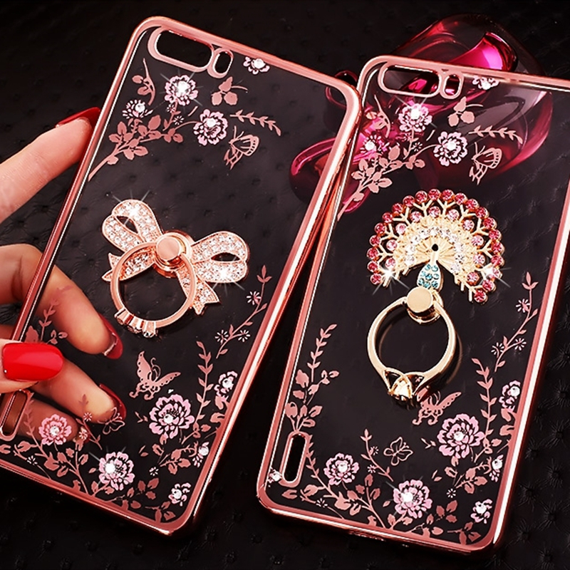 For Huawei Y9 2019 Y7 Prime Y5 2018 Phone <font><b>Case</b></font> <font><b>Honor</b></font> 10 Lite 9 <font><b>8X</b></font> <font><b>Max</b></font> 8C 8A Play V20 Soft TPU Silicon Plating Finger Ring Holder image