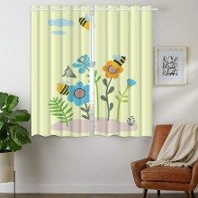 Darkening Blackout Curtains 2 Panels Grommet for Childrens Bedroom Cute Bees Flowers Insects
