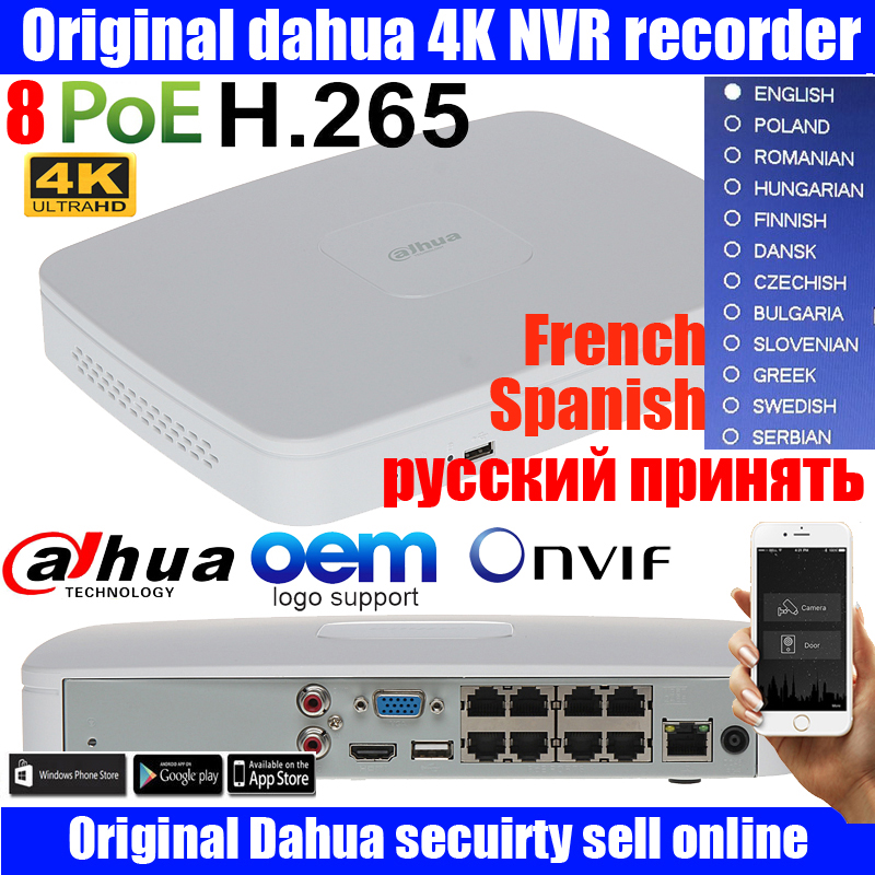 Original MUtil language DAHUA POE DH-NVR4108-8P-4ks2 NVR4108-8P-4KS2 NVR with 8 poe ports Smart 1U Mini NVR 4k h265 Network NVR