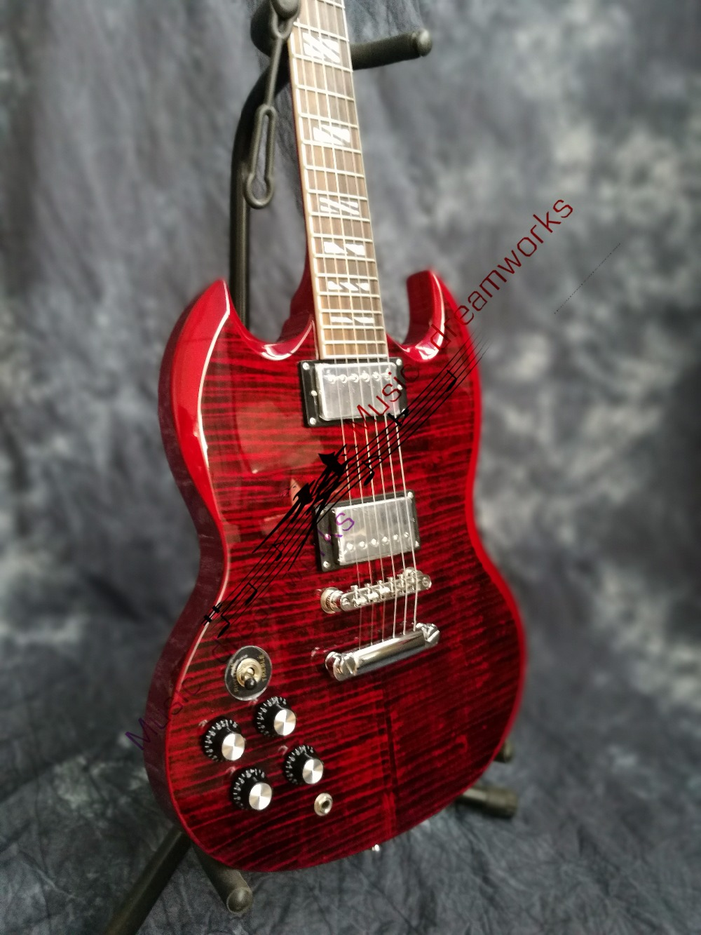 China OEM  firehawk  SG electric guitar The left hand guitar,RED guitar.You can change the color EMS free shipping china oem firehawk shop guitar hot selling tl electric guitar stained maple tiger stripes maple wood color page 1