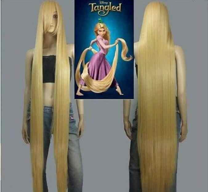Trang sức Bộ Tóc Giả HOT! Bộ phim Bị Rối Rapunzel Dài Tóc Vàng Cosplay Thẳng Tóc Giả Tóc 150 cm Miễn Phí Vận Chuyển