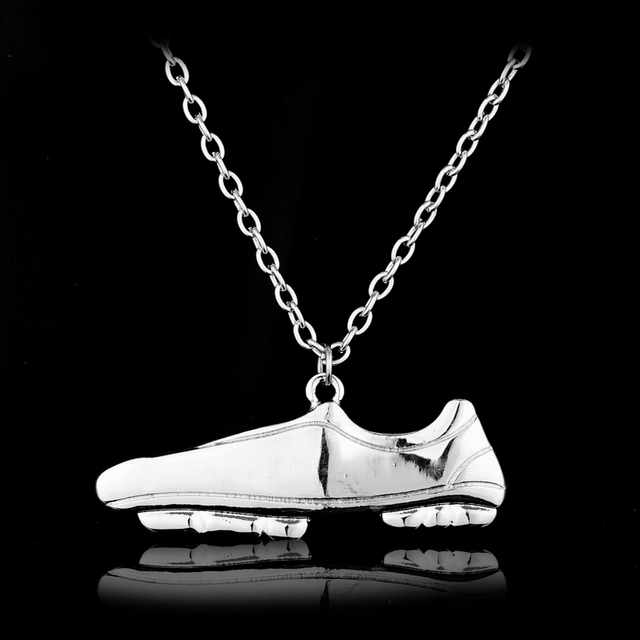 Football Boots Shoes Link Chain Soccer Charm Necklace Pendant
