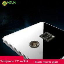 Type 86 Black Mirror Glass Phone TV Sockets Fixed TV IPTV TV Wall Panel Sockets