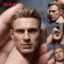 New 1:6 Scale Male Head Sculpt Captain America Chris Evans Carved Model fit 12 Action Figure for Collection Toys