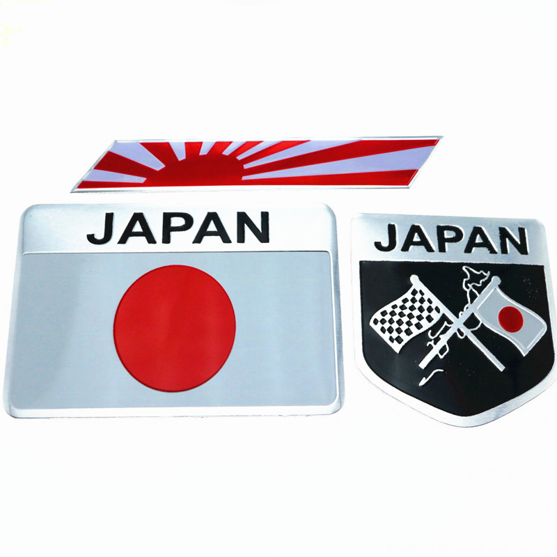 Car Styling Japanese Flag Emblem Badge Car Sticker Decals Accessories For Toyoto Honda Nissan Mazda Lexus Mitsubishi Car-Styling 1 pair door protector anti collision canada flag emblem 3d car stickers creative car styling automobile accessories