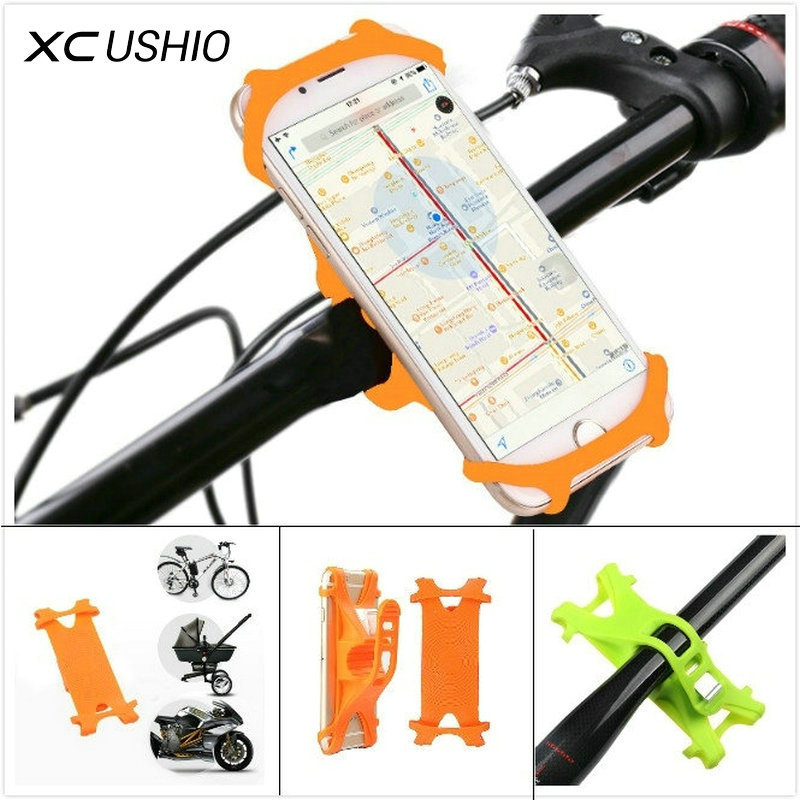 XC USHIO Bicycle Phone Holder Silicone Waterproof For 4-6 Inch Mobile Phone Holder Flexible GPS Bike Handlebar Mount Bracket