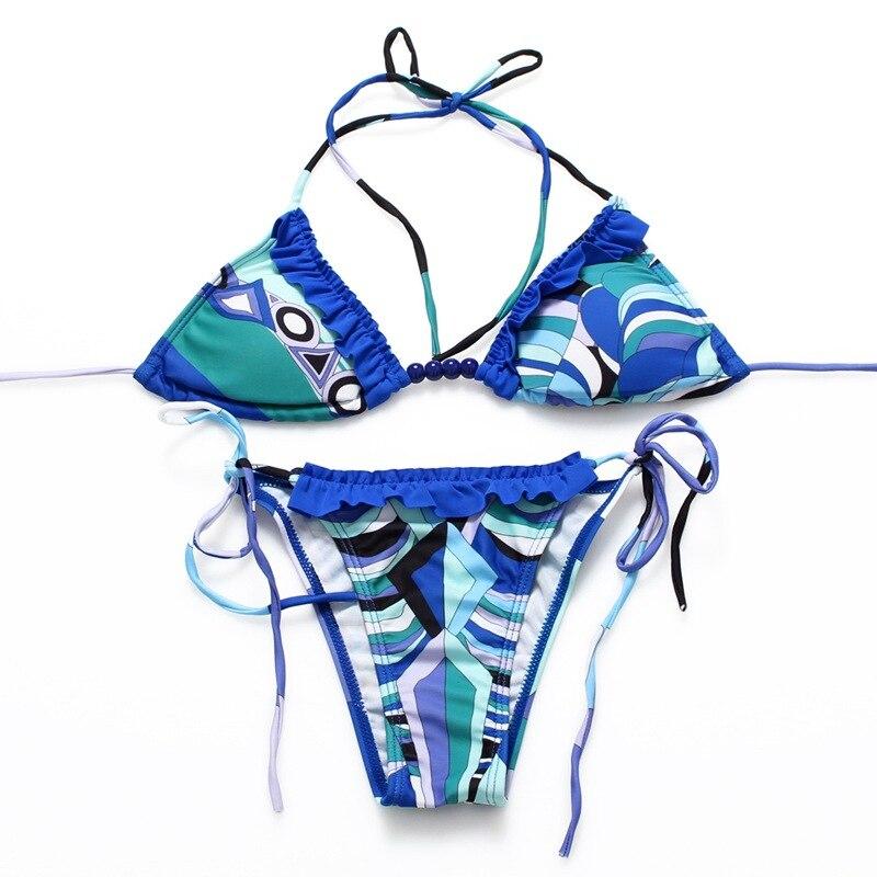 JQFF Store Sexy Micro Bikinis Women Brazilian Bikini 2017 Swimsuit Bathing Suit Push Up Low Waist Swim Suit Beach Swimwear Set Print Blue