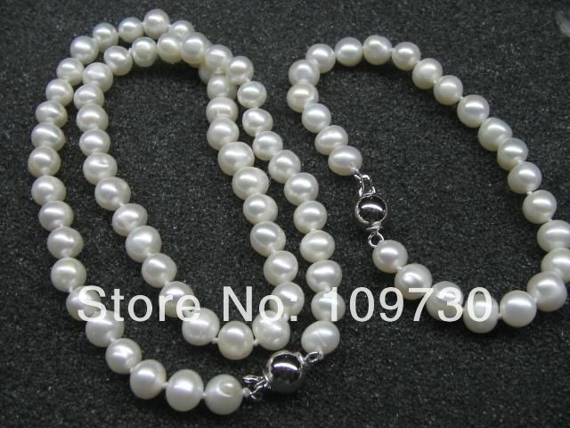 Jewelry 00583 wholesale 10 Sets 7-8mm freshwater pearl Necklace & BraceletJewelry 00583 wholesale 10 Sets 7-8mm freshwater pearl Necklace & Bracelet