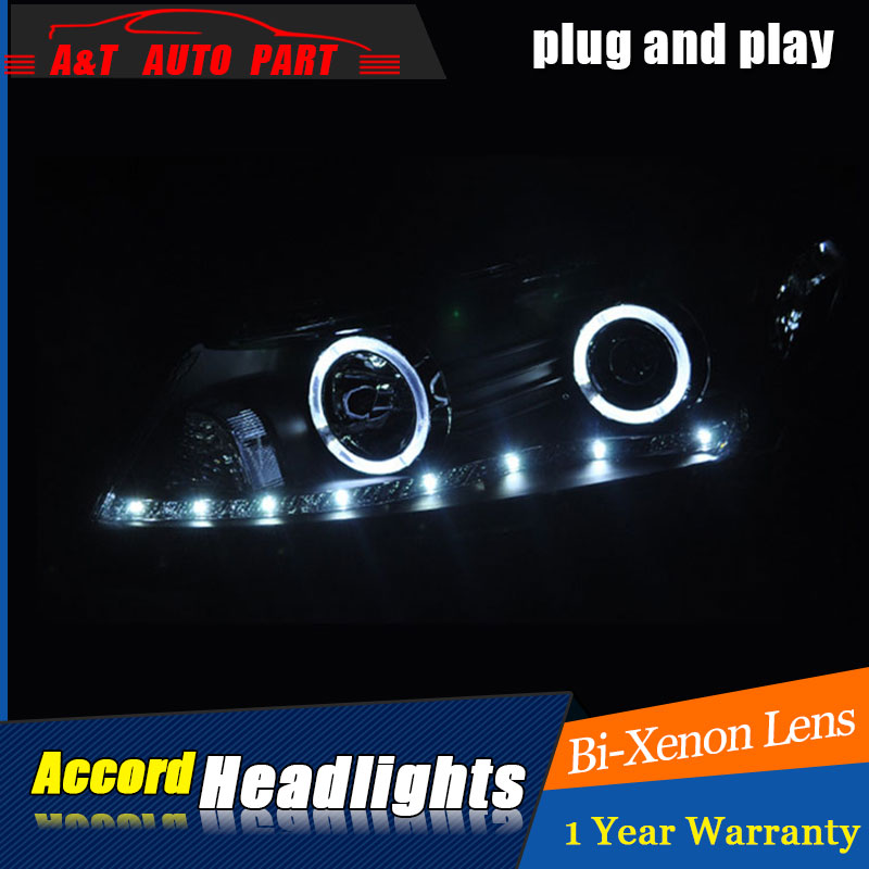 Auto Lighting Style LED Head Lamp for Honda Accord headlights for Accord LED angle eyes drl H7 hid Bi-Xenon Lens low beam for volkswagen polo mk5 vento cross polo led head lamp headlights 2010 2014 year r8 style sn