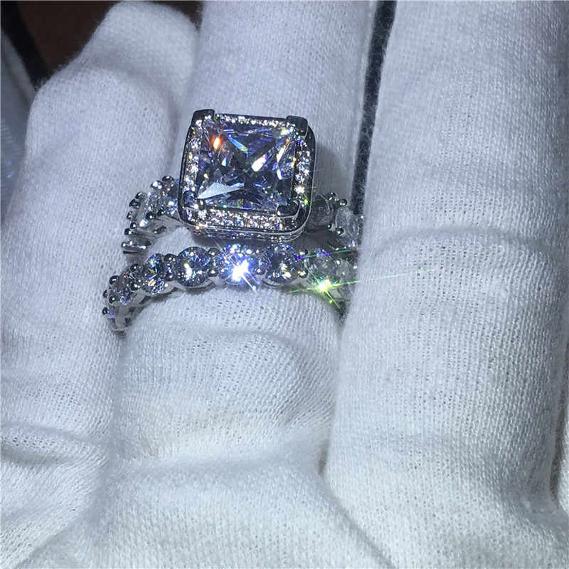 Vecalon Vintage Promise Ring Bộ Full Aaaaa Viên Đá CZ Bạc 925 Cưới, Ban Nhạc Nhẫn Dành Cho Nữ Trang Sức