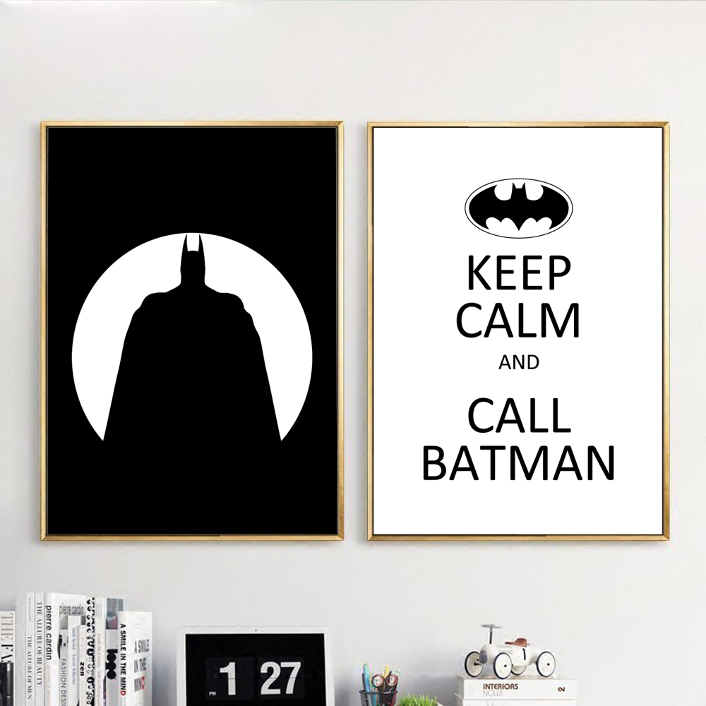 Nordic Style Canvas Print Painting Poster Of Black White Batman ...