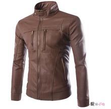 jaqueta de couro stand collar plus size leather clothing zipper buffalo hide jacket european PU motorcycle leather jacket men