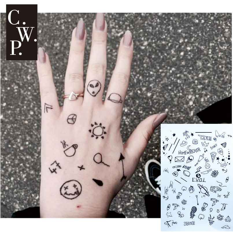 #BH1703  1 piece Stick N Poke Black Henna Tattoo with Semicolon ,ET,  daily pattern Temporary Tattoo for Hands  Stickers
