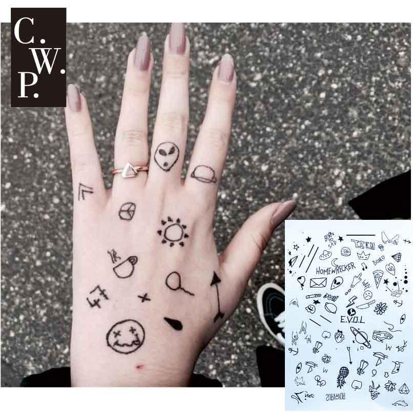 Bh1704 1 Piece Black Henna Cuff Tattoo With Flower Wrist: #BH1703 1 Piece Stick N Poke Black Henna Tattoo With