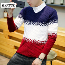 V-neck Men Pullovers Patchwork Knitted Sweater Male Slim Fit Fashion Casual High Quality Hedging Mens Sweaters for 2017