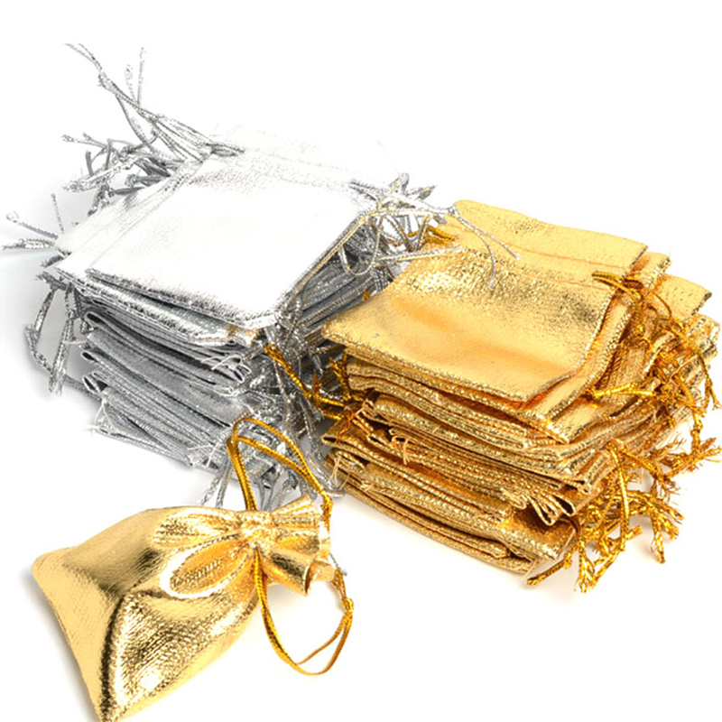 50pcs/lot 7 * 9cm Drawstring Gift Bags Gold and Silver Jewelry Gift Bags Accessories Packaging Small Gift Bags(China)