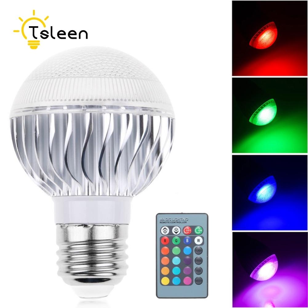 TSLEEN Cheap! Dimmable E27 E14 E26 16-Color RGB LED Lamp Mood Spot Light + IR Remote Control 5W 10W