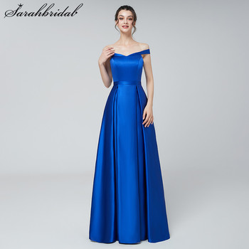 Vintage Sexy Long Evening Dresses Satin A Line Royal Blue Off-The Shoulder Sleeveless Prom Party Gowns Back Zip Pleats Hot 3171