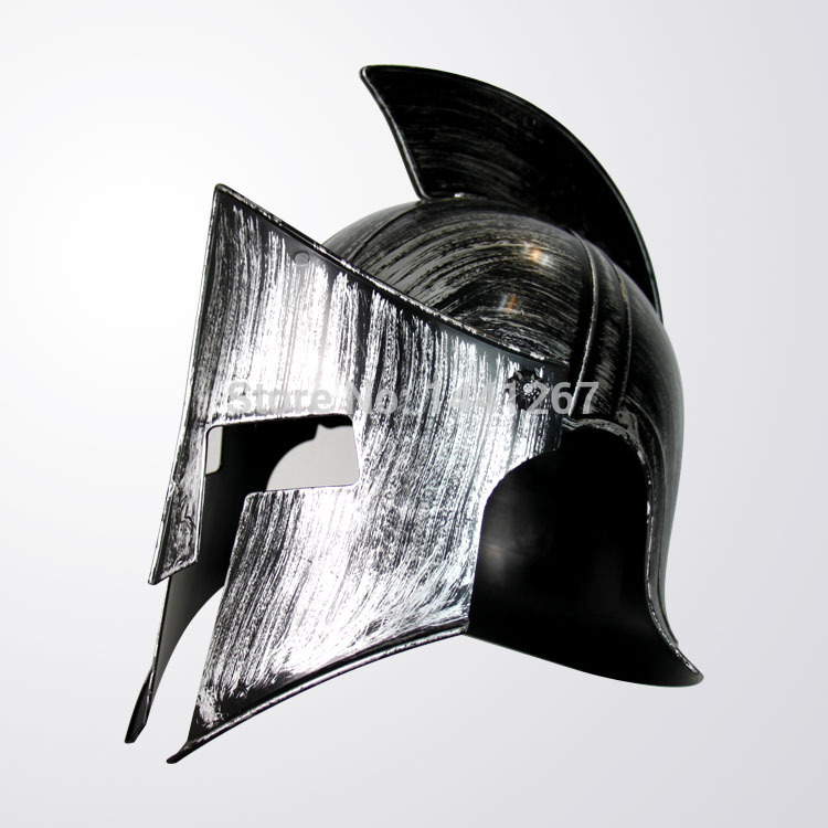 Halloween Adult Cosplay Props Ancient Rome Warrior Hero Plastic Silvery Spartan Helmet Toy Hot Selling