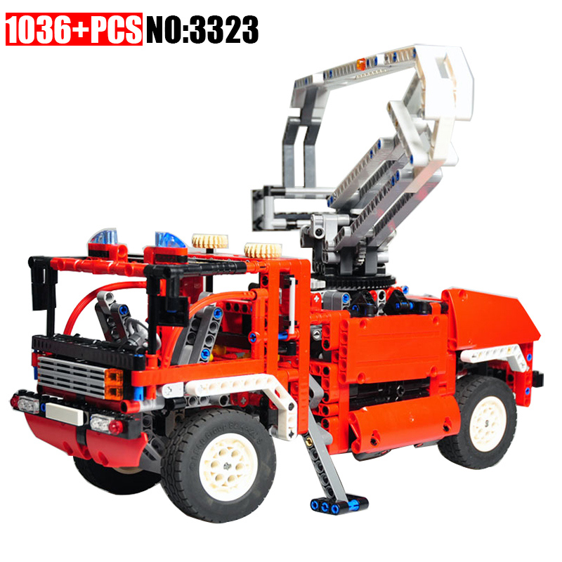 3323 1036pcs Technic Fire Truck Lorry Building Blocks Compatible 8289 DIY Educational Bricks Toys for Children Great Gift decool 3117 city creator 3in1 vacation getaways building block 613pcs diy educational toys for children compatible legoe